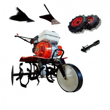Motobineuse thermique Powerground 700 OHV, 208 cc, 7 HP, 90 cm + roues agricole de 400 +  buteur + buteur latéral