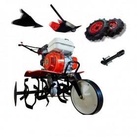 Motobineuse thermique Powerground 700 OHV, 208 cc, 7 hp, 90 cm + roues agricole de 400 +  buteur + buteur réglable