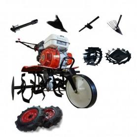 Motobineuse thermique Powerground 700 OHV, 208 cc, 7 hp, 90 cm + Roues métallique + roues agricole + buteur + arrache patates