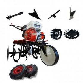 Motobineuse thermique Powerground 700 OHV, 208 cc, 7 hp, 90 cm + Roues métallique + roues agricole + buteur + but. latéral